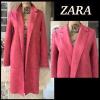 ZARA Women Size S Open Front Faux Brush Suede Coat