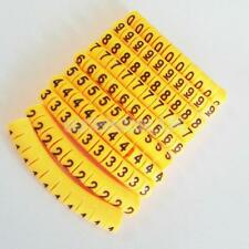1000x PVC Yellow Cable Wire Markers Labels Tags Management Number 0~9 0.5mm²