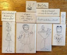 Lot of 11 Inky Antics Wood Mounted Rubber Stamps FUN Women Shopping Cocktail