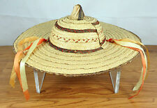 Vintage Child or Large Doll Colorful Straw Hat Bonnet with Orange/Yellow Ribbons