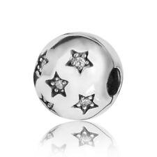 925 Silber Beads Stopper Zirkonia weiß - Sterne Bead Clip für Gewinde Armbänder