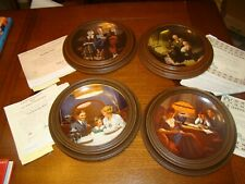 Vintage Norman Rockwell collector plates lot certificates in wood frames set 4