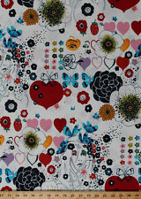 Flowers Child Sixties 60's Floral Butterflies Cotton Fabric Print BTY D576.25