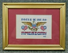 Framed Matted Completed Cross Stitch Needlepoint Proud American Eagle 8.5 x 6.5