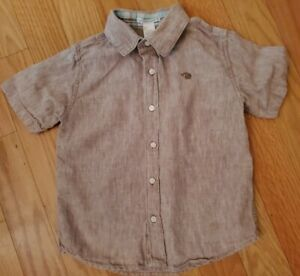 Boy Size 5 Janie And Jack Brown 100% Linen Shirt