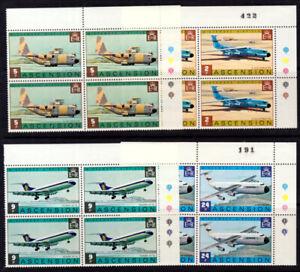 Ascension 1975 Aircraft set, Lockheeds & Vickers VC10, T/Light Blks of 4 MNH/UNM
