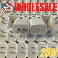 1-100X Bulk Lot For iPhone 12 11 XR 20W USB-C Fast Wall Charger PD Power Adapter