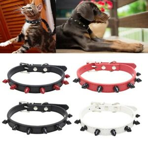 Puppy collar Rivet Spiked Studded small pet dog leather cat Necklace Choker US
