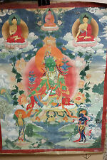 ANTIQUE TIBET TIBETAN MONGOLIA MONGOLIAN THANKA THANGKA GREEN TARA