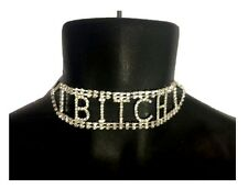 Clear Rhinestone Bitch Wide Choker Necklace Costume Jewelry Silver Stripper