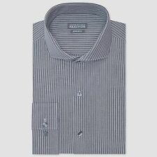 NWT $89 KENNETH COLE Men's REGULAR FIT WHITE GRAY STRIPED DRESS SHIRT 15 32/33 M