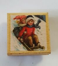 Sello De Goma Con Respaldo De Madera Navidad niños En Trineo Nieve Invierno #2