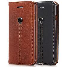 Handy Leder Tasche Magnet Cover Schutz Hülle Flip Case Book Etui Schwarz & Braun