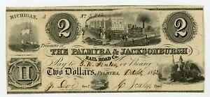 1800's $2 The Palmyra & Jacksonburgh Rail Road Co. - Palmyra, MICHIGAN Note