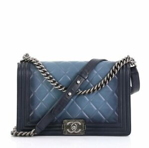 Authentic Chanel Boy flap Quilted ombre medium leather bag