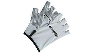 Columbia PFG Terminal Tackle Fishing Gloves Unisex Size L/XL White/Black UPF 50