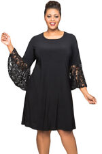Plus Size Black Or Red Sequin Lace Bell Sleeve Evening Dress Size16-34