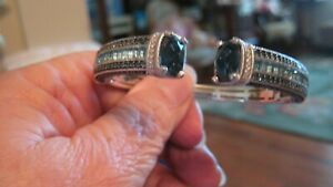 NWOT JUDITH RIPKA STERLING SILVER W/TOPAZ HINGED CUFF, SZ AVG, OVER 15 CTS, BOX