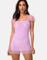 MOTEL ROCKS Lenira Mini Dress in Lilac Organza  Small S   (MR43)