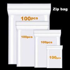 100pcs Clear Thick Heavy-Duty Zip Lock Ziplock Storage Bag Package Plastic Small
