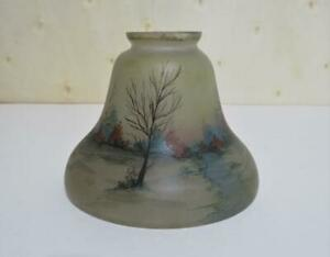 Vtg. Antique Reverse Painted Table Lamp Glass Shade Handel Moe Bridges Era AS-IS