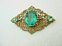 Vintage Gold Tone With Green Glass Stones Brooch