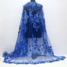 """1 YARD FLOWERS ROYALBLUE EMBROIDERY MESH SEQUINS RHINESTONE LACE FABRIC 50"""" WIDE"""