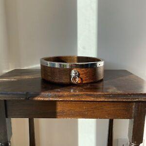 Vintage Ryecraft Woodware Lion Heads English Oak Wooden Fruit Bowl Mid Century