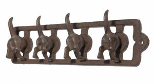 DOGS TAILS 4 X HOOK CAST IRON RUSTIC BROWN ANTIQUE STYLE DOG LEAD COATS KEYS ETC