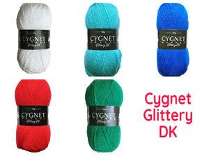 100g CYGNET GLITTERY DK Double Knitting Wool Yarn Toys Crafts Sparkle Christmas