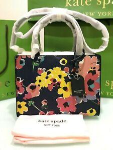 Kate Spade Sam Wildflower Bouquet Medium Satchel $298 NAVY MULTI