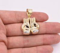 Double Boxing Glove Pendant Charm Diamond Cut Real 10K Yellow White Gold