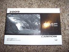 2009 GMC Canyon Owner Operator Manual Work Truck SLE SLT 2.9L 3.7L 5.3L V8 5Cyl
