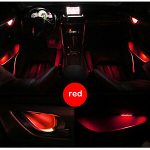 Red Car Door Bowl Handle LED Ambient Atmosphere Light Interior Universal 12V