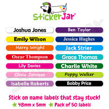 50 Personalised Stick On Name Labels Stickers Tags School Kids Waterproof NL16
