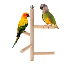 4 Layer Parrot Perch Stages Toys Natural Wood Rotating Ladder Bird Parakeet Cage