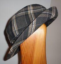 0/S L Mens Fedora Trilby Hat 100% Cotton Black Brown Plaid Center Dent Crown