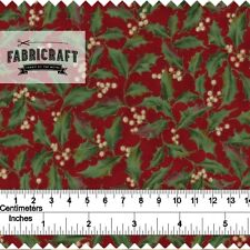 Christmas Fabric - Holly Leaves on burgundy 100% cotton 1 metre