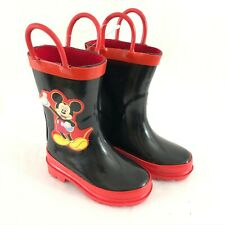 Disney Toddler Boys Girls Rain Boots Mickey Mouse Slip On Rubber Black Red 4