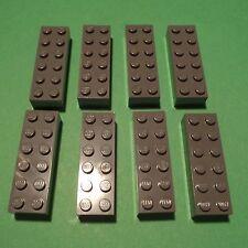 LEGO - 8 Steine 6x2 / 2x6 Dunkelgrau, Grau (10025)