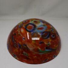"Antique Vtg Murano Crystal Glass Millefiori Lamp Shade Cased Hand Blown12.5"""