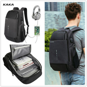 KAKA Men's  Backpack with USB Charging Fit 15.6inch Laptop For Travel Working