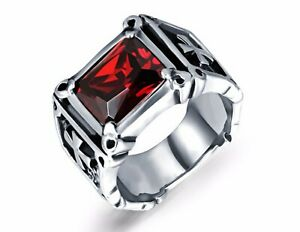Inlaid Red Zircon Cross Bless 316L Stainless Steel Ring Men/ Women Size 8-12