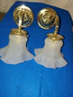 Pair of Vintage Antique Art Deco Brass Wall Sconces with  gas valve