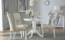 Kingston Round White Dining Room Table & 4 Regent Fabric Chairs Set - Oatmeal