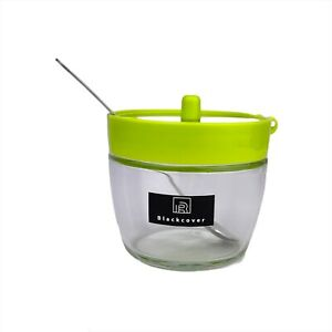 Black Cover Small Glass Sugar Bowl With Spoon - Green