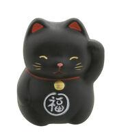 Figurina Baby Gatto Giapponese Nero 5cm Maneki Neko IN Ceramica Made Japan 182