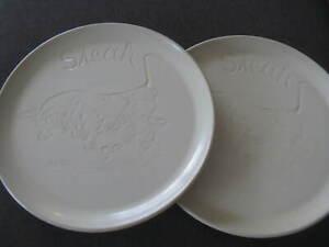 2 gr. Steakteller Söndgen Keramik Ton 30cm Stier Motiv Steingut Steinzeug