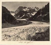 France, La Mer de Glace vue du Montanvert  Vintage albumen print. Vintage France