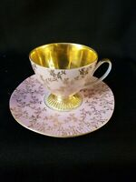 BEAUTIFUL POLISH GILDED PORCELAIN CHINA TEA SET CUP SAUCER / CHODZIEZ POLAND -